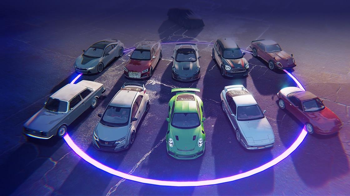 """Unter """"Autos"""" findest du alle Wagen, die dir zur Verfügung stehen. Überarbeite deine individuellen Autos, lade dir die wöchentlichen Wagen-Packs herunter oder füge deine Favoriten zum Showroom hinzu."""